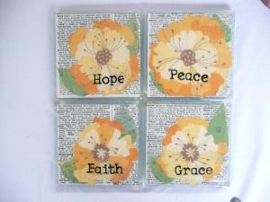 coasters: faith, hope, peace, grace