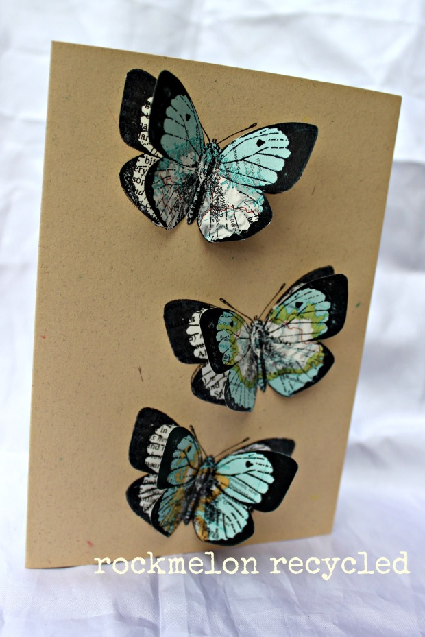 rockmelon recycled 3 pack handmade cards butterflies maps