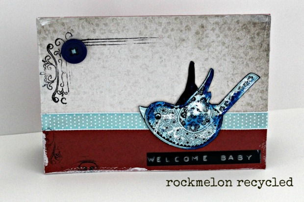 rockmelon recycled welcome baby bird card