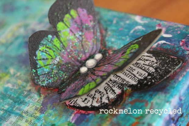 rockmelon recycled art collage butterflies 2