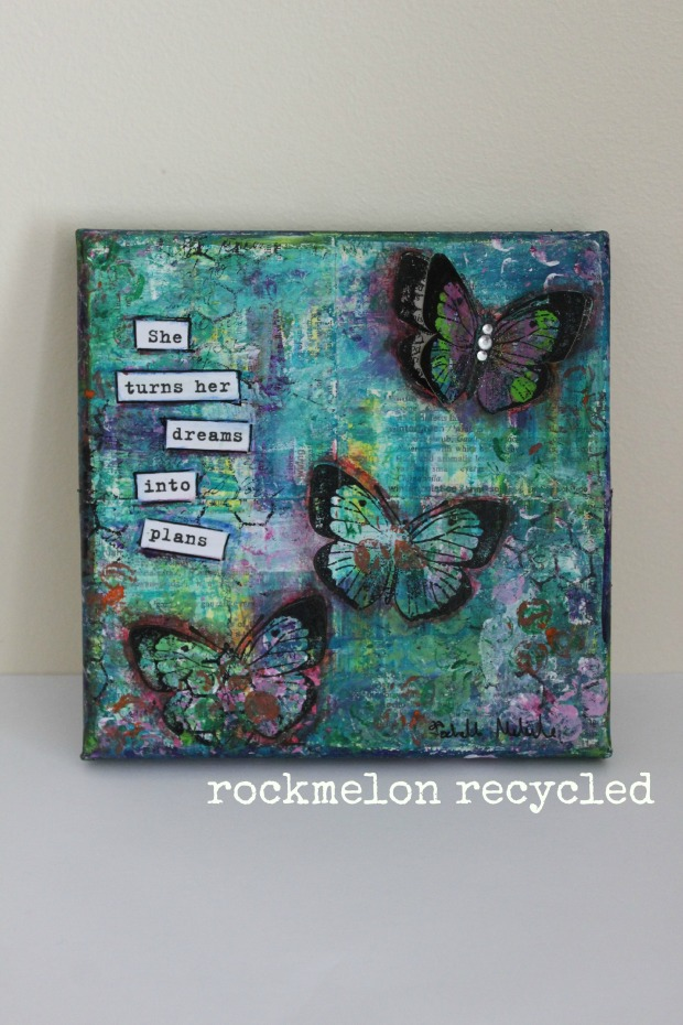 rockmelon recycled art collage butterflies