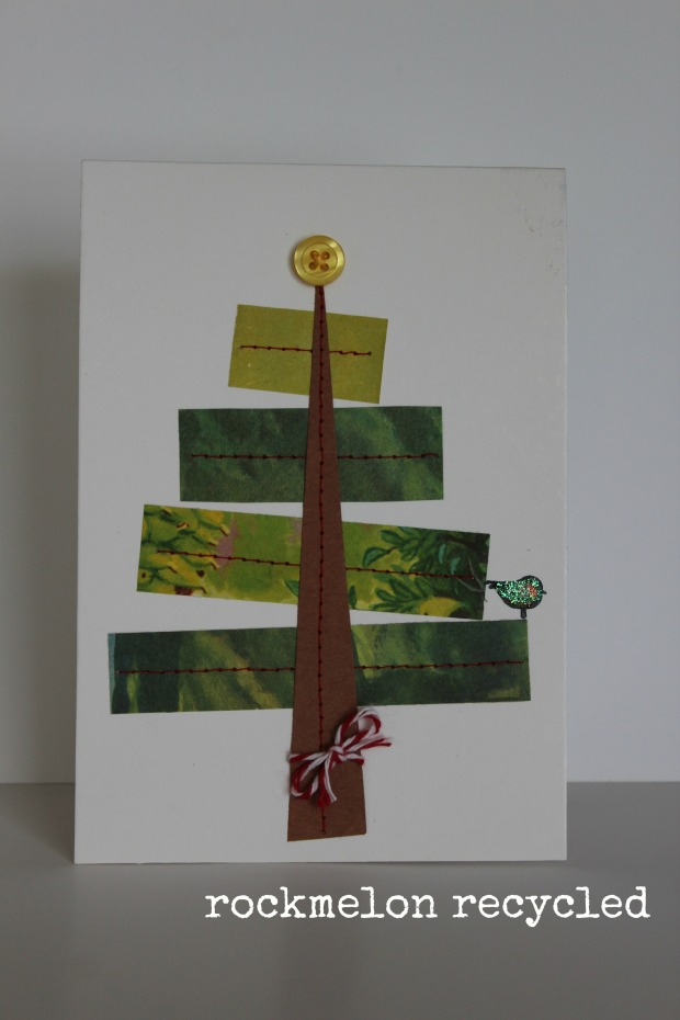 rockmelon recycled handmade Christmas card a partridge in a pear tree