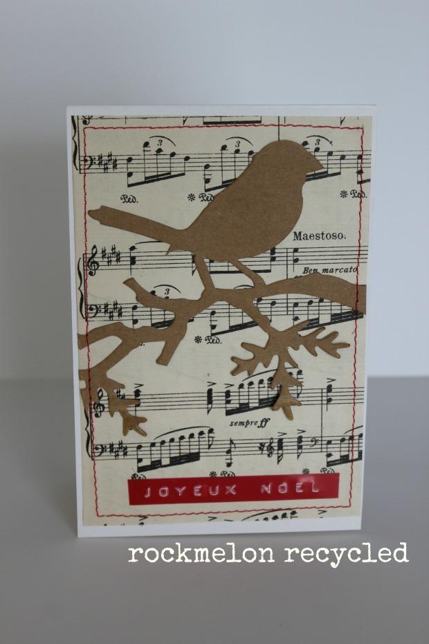 rockmelon recycled handmade christmas card joyeux noel vintage music and bird