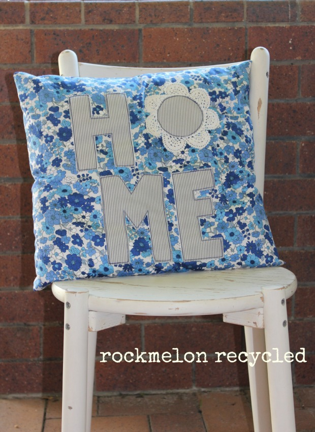 rockmelon recycled handmade blue cushion home