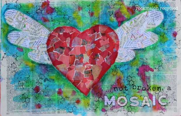 collage heart with wings