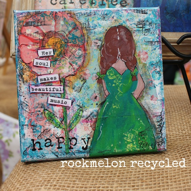 rockmelon recycled art collage happy